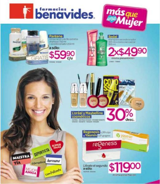 Folleto Farmacias Benavides: 30% de descuento en cosméticos L'Oréal y Maybelline, 3x2 en impresiones y más