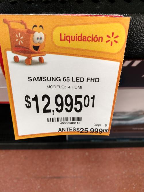"Walmart: pantalla de 65"" Samsung J6300 smart tv en liquidación a $12,995.01"