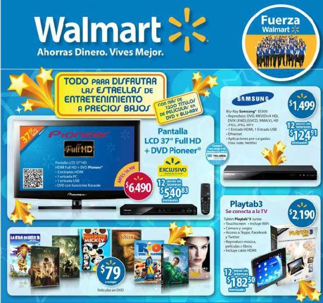 Folleto Walmart: Blu-ray $750, colchón matrimonial $1070, sofacama $1,990 y más