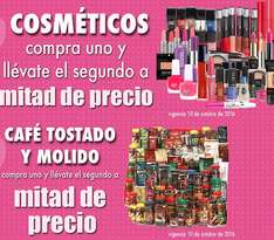 Comercial Mexicana y Mega: 2 x 1½ en todos los cosméticos y en todo el café tostado y molido