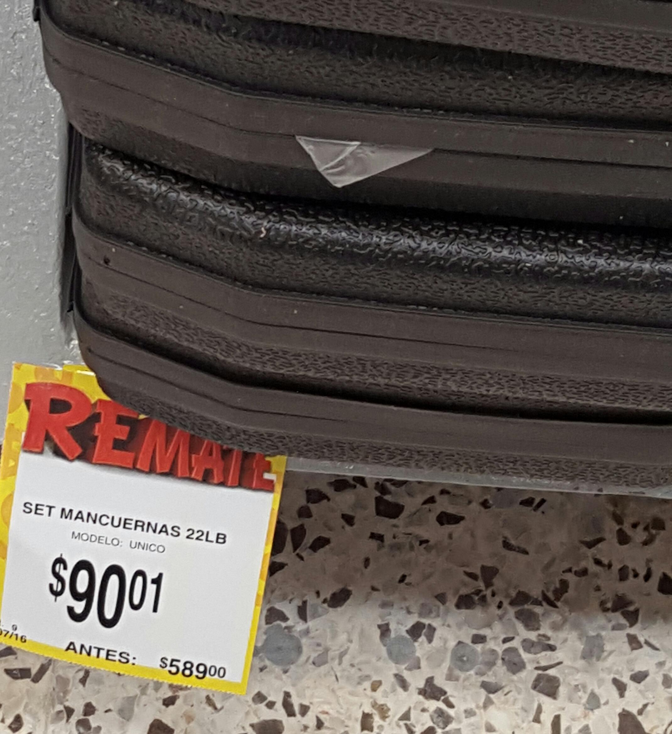 Bodega Aurrerá 1ro de mayo: mancuerna  de 22 libras a $90.01