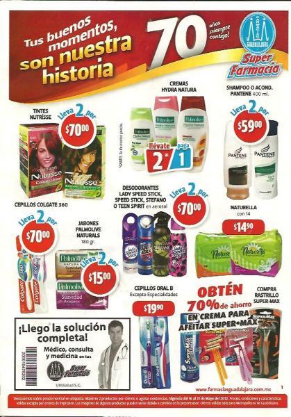 Folleto Farmacias Guadalajara mayo 16: 2x1 en crema Hydra Natura, desodorante Clean & Dry y más