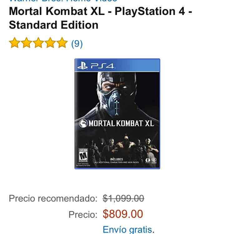 Amazon: Mortal Kombat XL para PS4 a $809