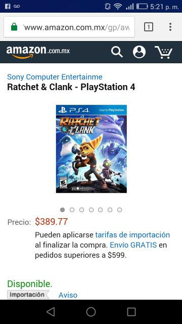Amazon: Ratchet & Clank para PS4 a $389