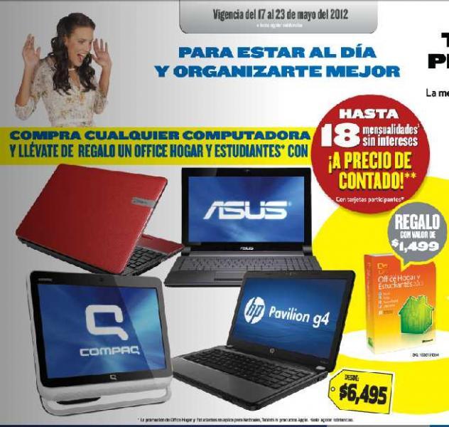 Folleto Best Buy mayo 17: MS Office gratis en la compra de computadora, 40% de descuento en muebles y más