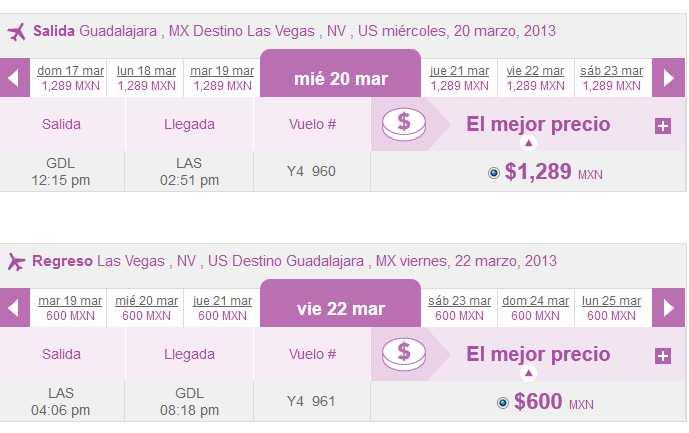 Volaris: vuelos nacionales $499 y a USA $99 USD. Los Ángeles o Vegas a Guadalajara 600 pesos! DF $791