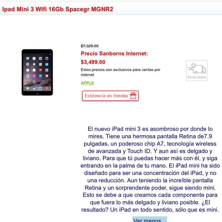 Sanborns: iPad Mini 3 16gb a $3,499 me parece muy buen precio