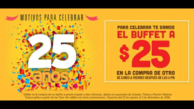Sirloin Stockade: Segundo buffet a $25 (Cancún, Toluca y Puerto Vallarta)