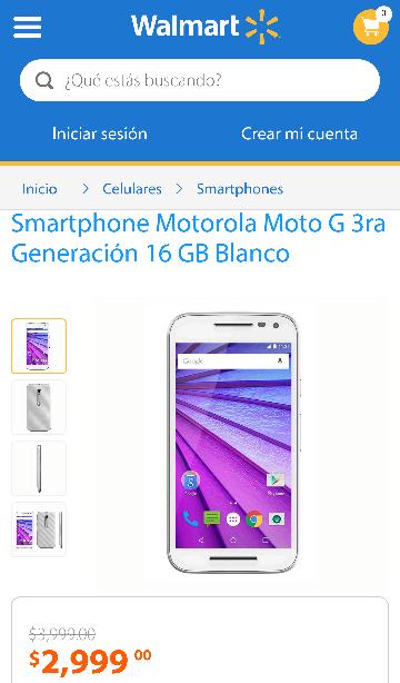 Walmart: Moto G 3ra Blanco 16 GB