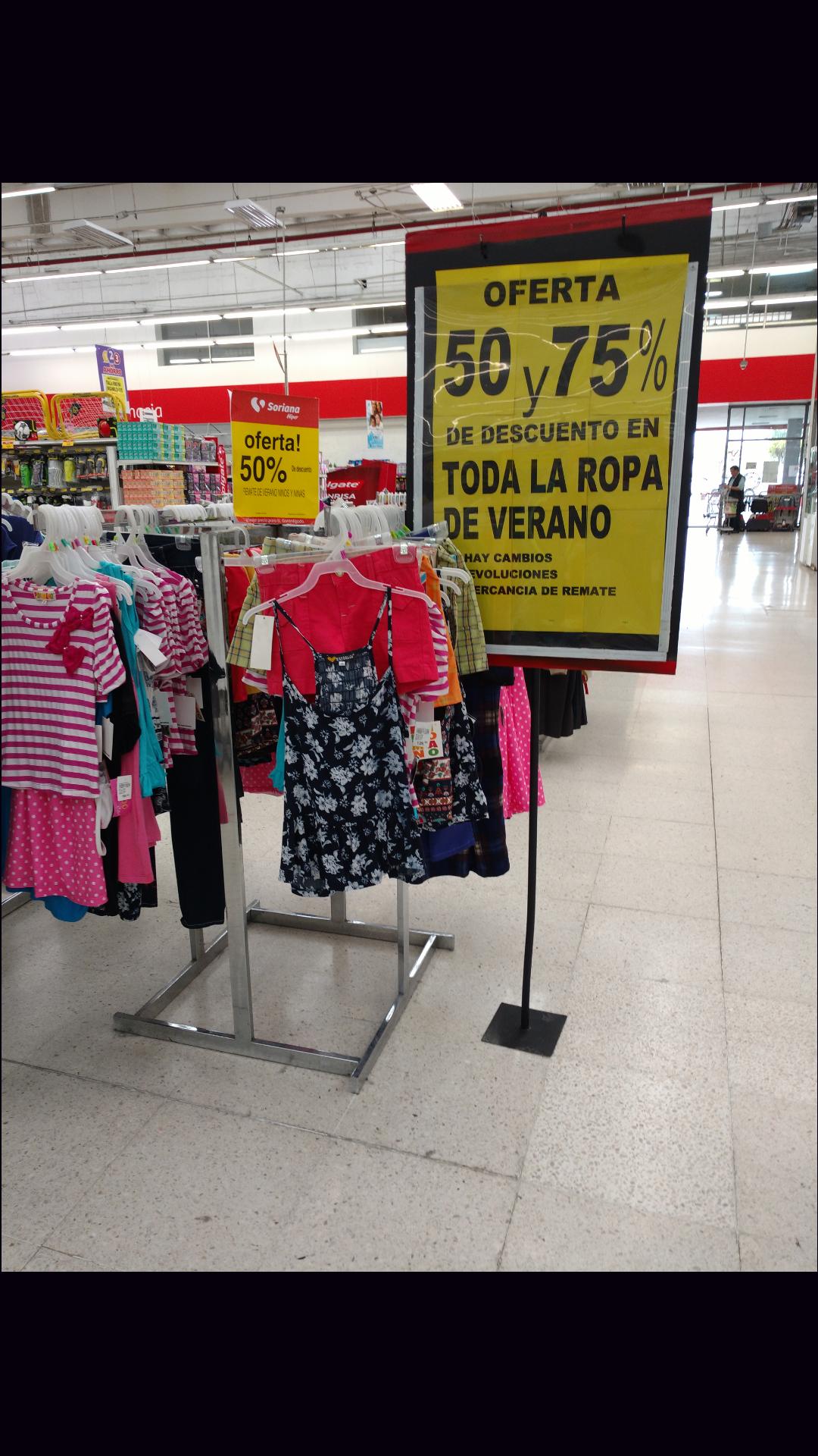 Soriana Hiper Consulado CDMX: hasta 75% de descuento en ropa de verano