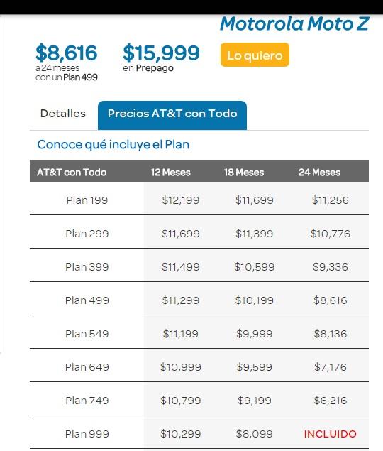 AT&T: Moto Z SIN COSTO en Plan Con Todo 999