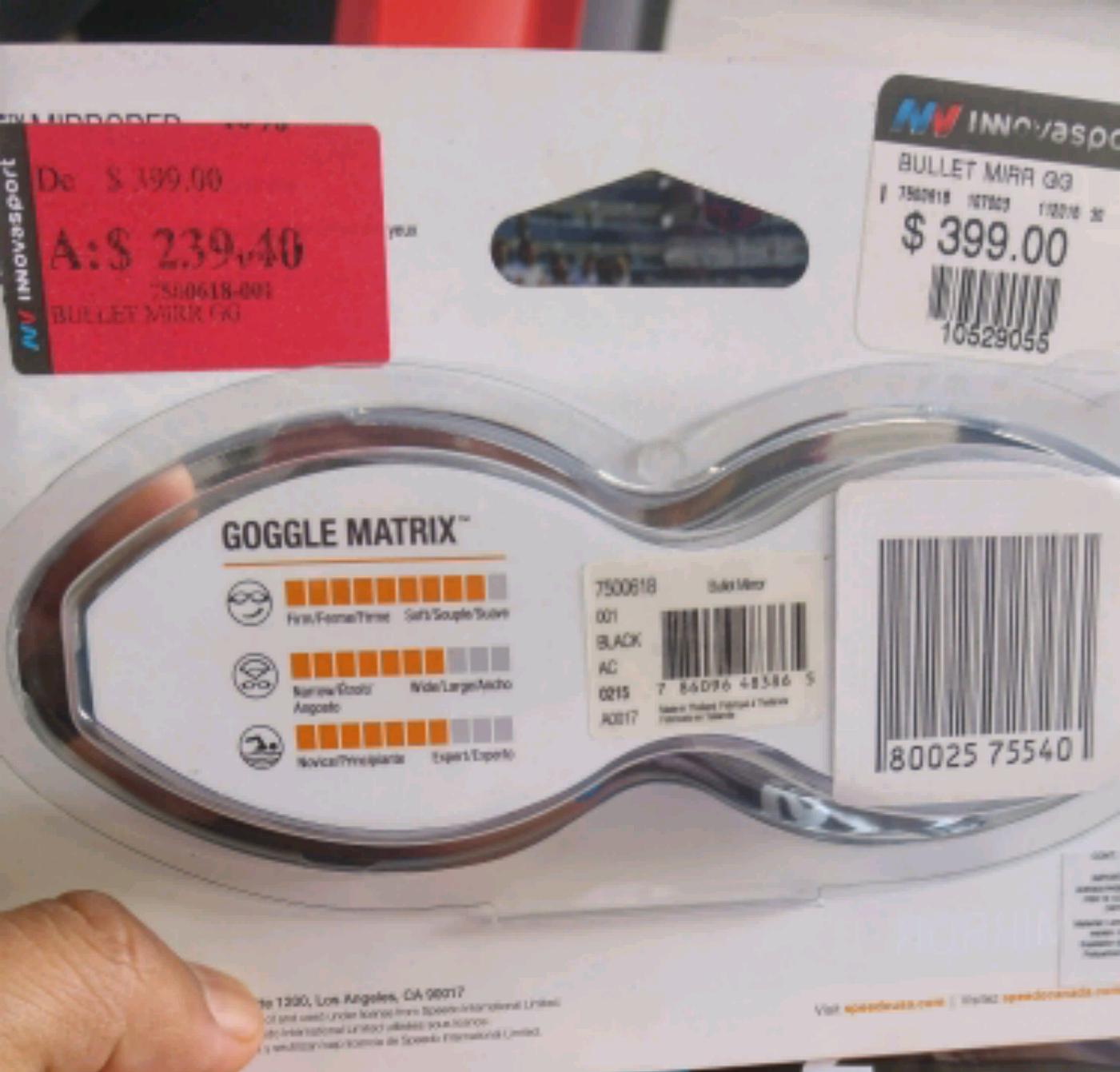 InnovaSport: Googles de natacion speedo mirrored a $239