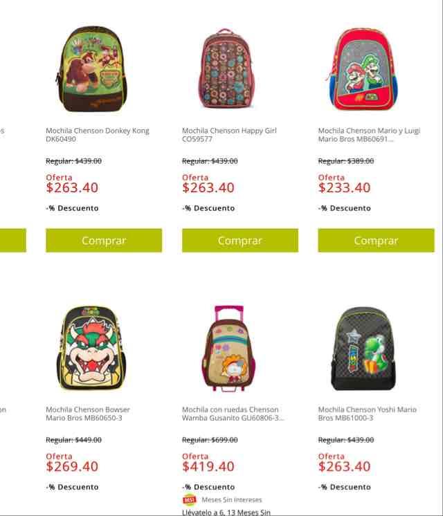 Soriana: mochilas chenson con 40% de descuento
