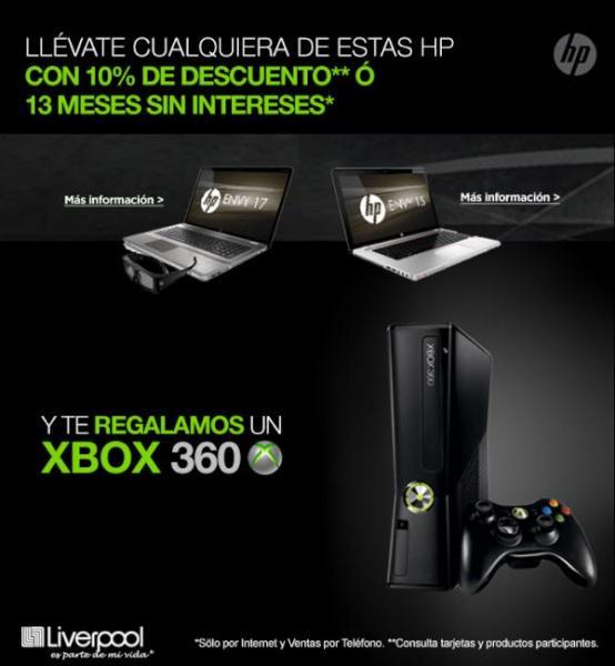Liverpool: 10% de descuento y Xbox 360 gratis comprando Laptops HP Envy 15 o 17