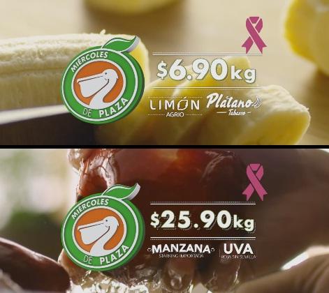 La Comer y Fresko: Miércoles de Plaza 05 Octubre: Limón Agrio o Plátano Tabasco $6.90 kg; Manzana Starking o Uva Roja sin Semilla $25.90 kg.
