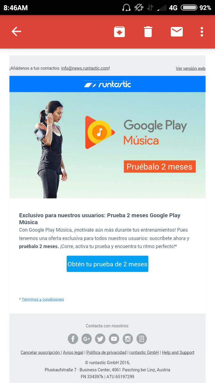 Google Play Music: Gratis 2 Meses para miembros de Runtastic Pro.