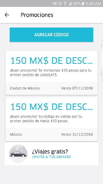 Uber y UberEats: códigos de $150 cada uno