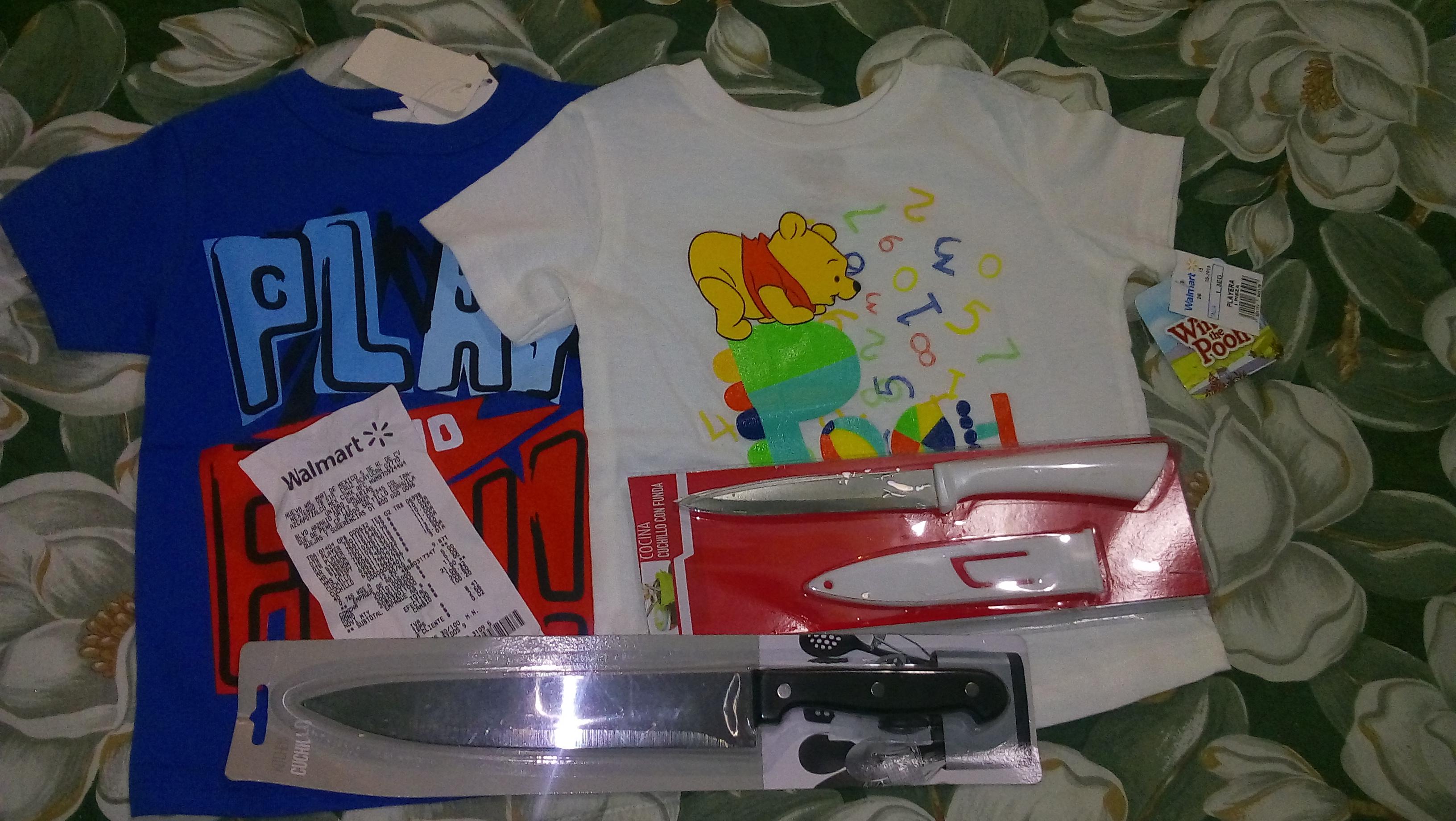 Walmart: Playeras para niño y Cuchillos de cocina