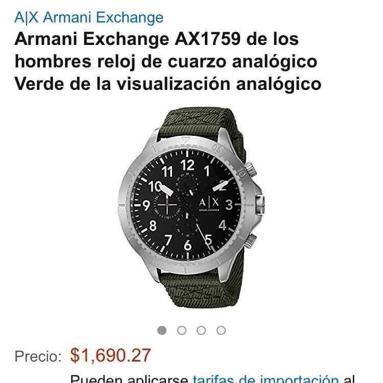 Amazon: reloj para hombre Armani Exchange AX1759 a $1,690 envió gratis y tarifa de importación incluidas