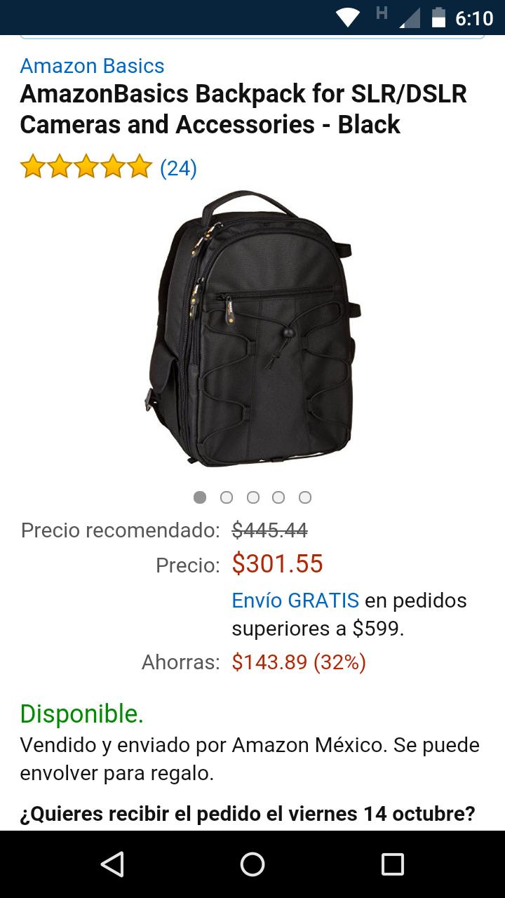 Amazon MX: Amazonbasics Backpack Dslr