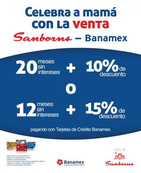 Sanborns: 15% de descuento y 12 meses sin intereses o 20 MSI y 10% con Banamex