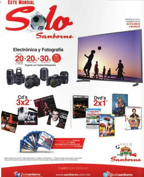 Sanborns: 2x1 en DVDs, 3x2 en CDs y 30% de descuentro en fotografía