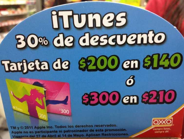 Oxxo: 30% de descuento en tarjetas iTunes