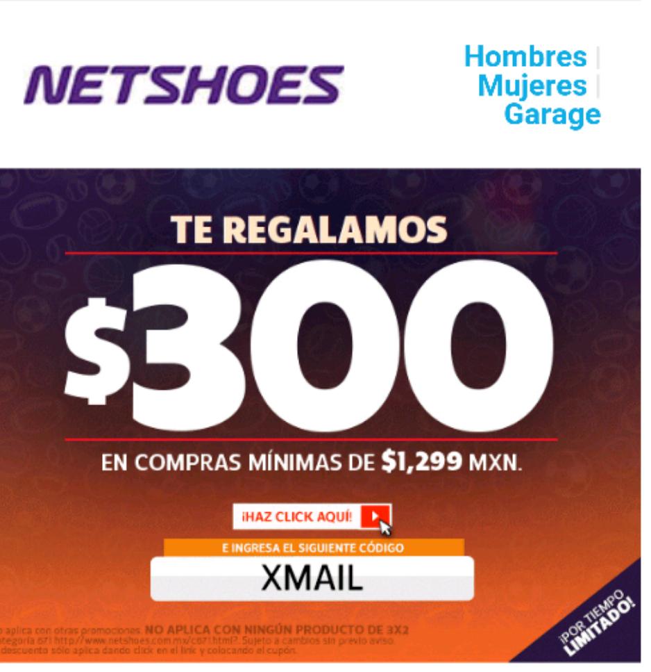 Netshoes: cupón de $300 de descuento (mínimo $1,199) con cupón XMAIL