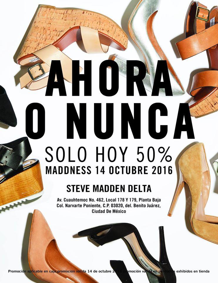 Steve Madden: 50% en Toda la Tienda (14 y 15 de Oct depende de la Tienda)