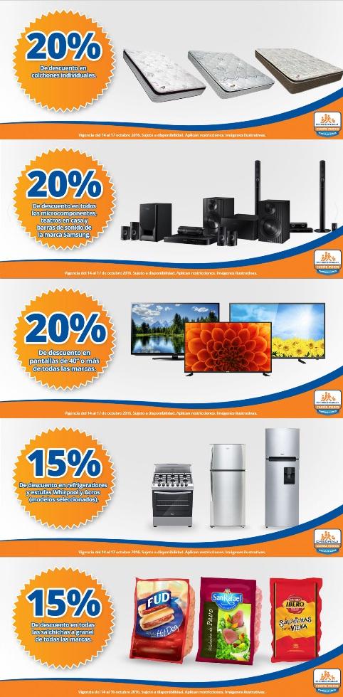 """Chedraui: 20% de descuento en colchones individuales, microcomponentes, teatros en casa, barras de Sonido Samsung, pantallas 40"""" todas las marcas; 15% de descuento en refrigeradores y estufas Whirlpool y Acros seleccionados, todas las salchichas a gr"""