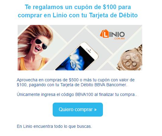 Linio: cupón de $100 pesos de descuento pagando con débito BANCOMER