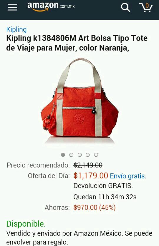 Amazon: Bolsa tipo tote para viaje marca Kipling