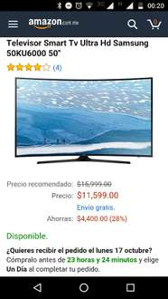 Amazon MX: Televisor Smart Tv Ultra Hd Samsung 50KU6000 50""