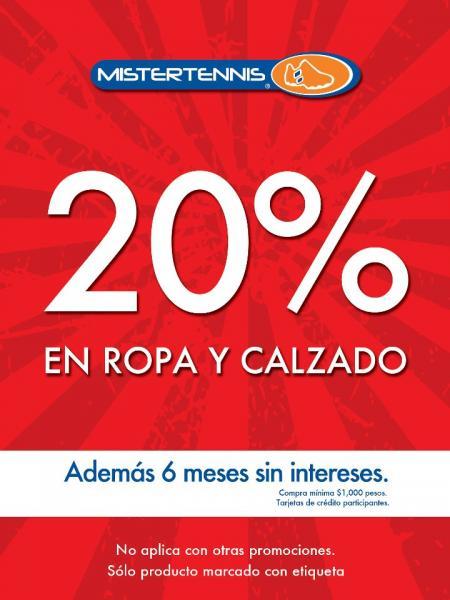 Mister Tennis: 20% de descuento selección de ropa y calzado y 6 MSI