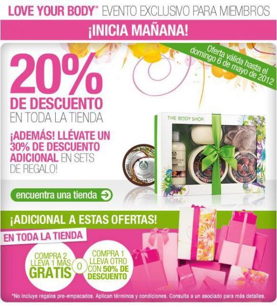 The Body Shop: 3x2, 20% de descuento en toda la tienda, 30% adicional en sets de regalo y más