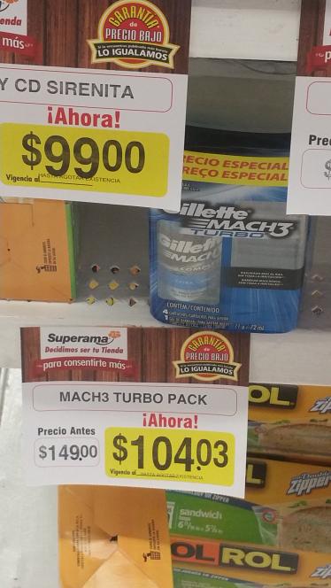 Superama: pack 4 cartuchos Gillette mach3 turbo y crema afeitar complete defense y más