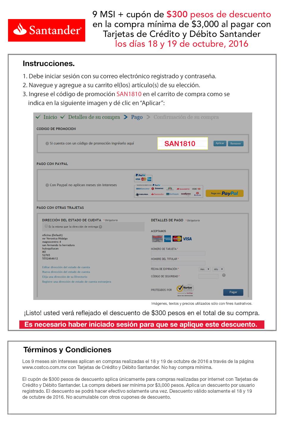 Costco en línea: Cupón de $300 comprando $3000+ y 9MSI con Santander