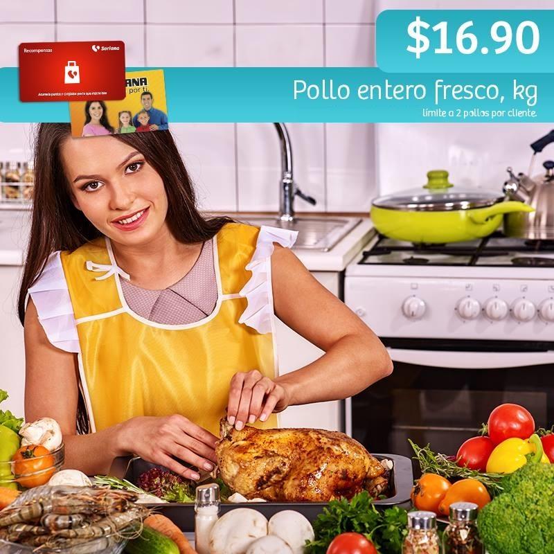 Soriana Híper y Súper: Recompensa Martes 18 de Octubre: Pollo Entero Fresco $16.90 kg.