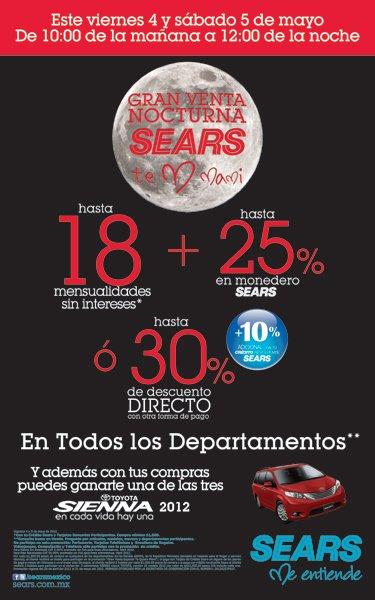 Venta Nocturna Sears 4 y 5 de mayo: hasta 30% de descuento o 18 MSI y hasta 25% en monedero electrónico