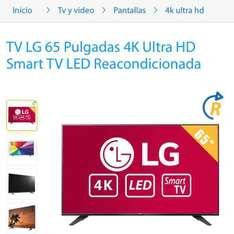 "Walmart en línea: Pantalla Smart TV 4K LED Marca: LG de 65"" reacondicionada 120hz"