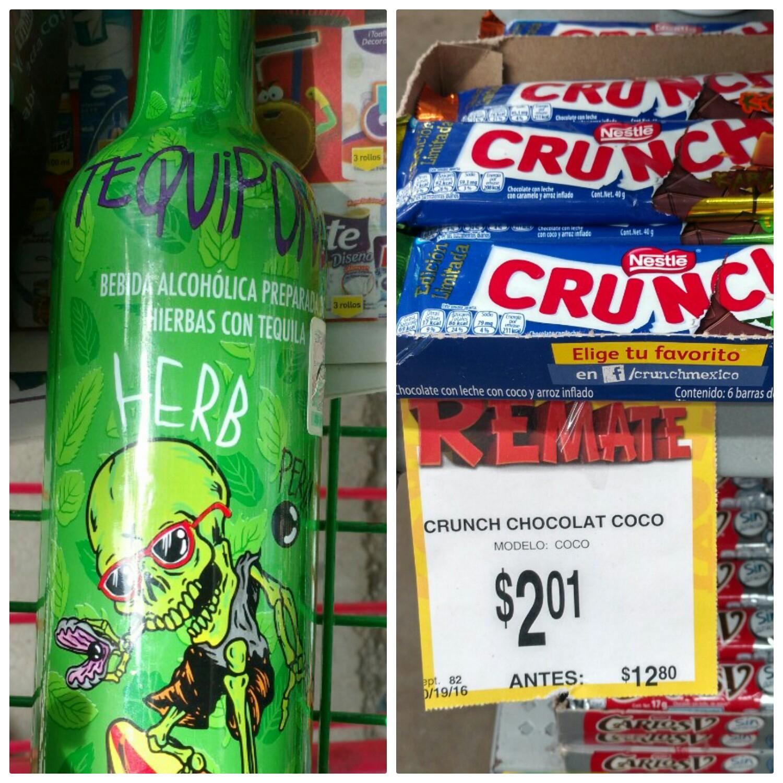 Bodega Aurrerá Tuxtla: chocolate Crunch a $2.01 y tequiponch 750ml $24.01