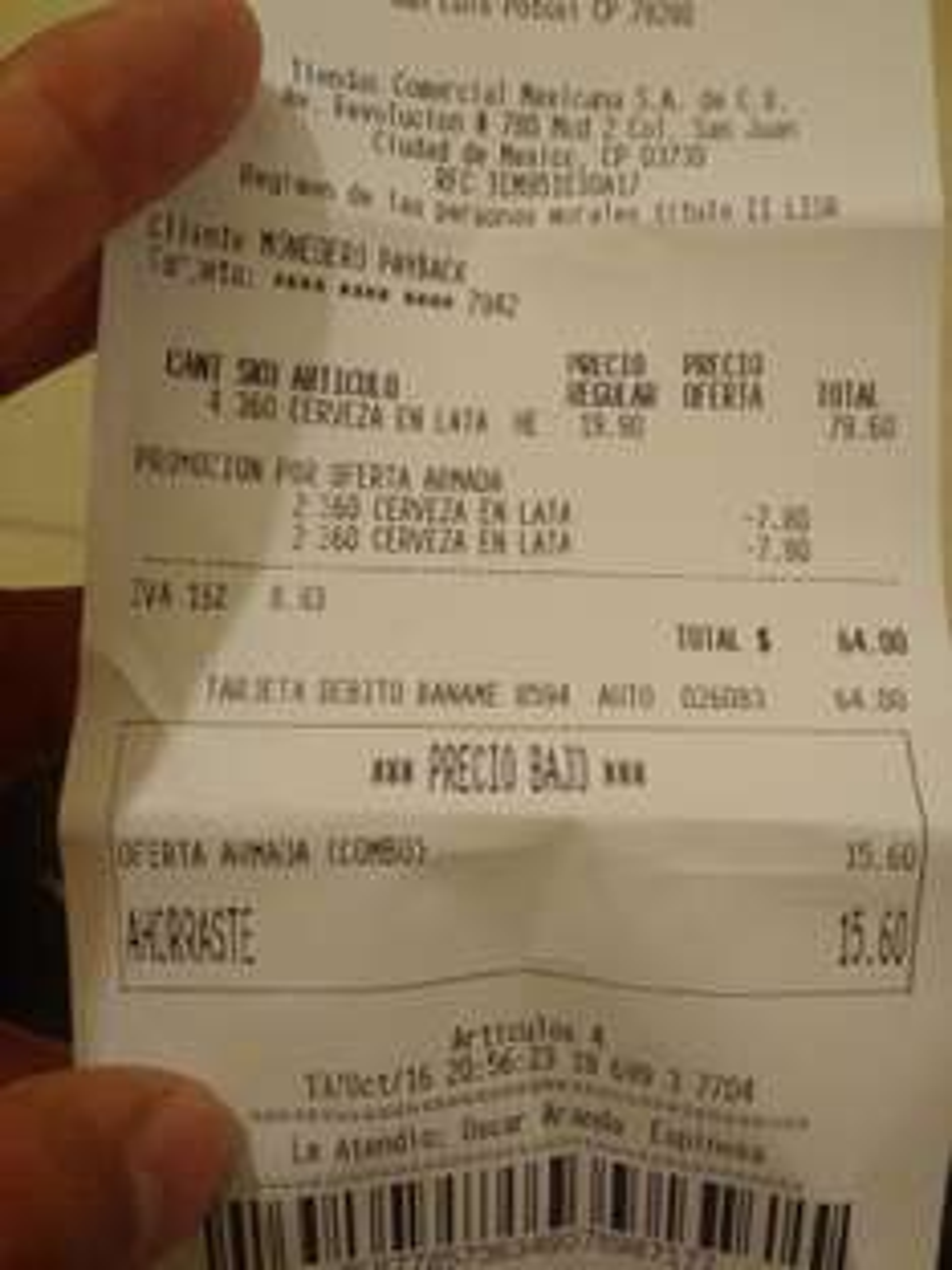 Comercial Mexicana plaza fiesta SLP: 2 cervezas Heineken lata 473ml x $32