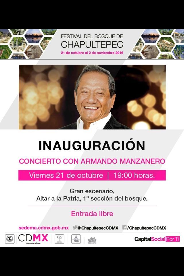 CDMX: Armando Manzanero, concierto gratuito en la inauguración del festival del Bosque de Chapultepec