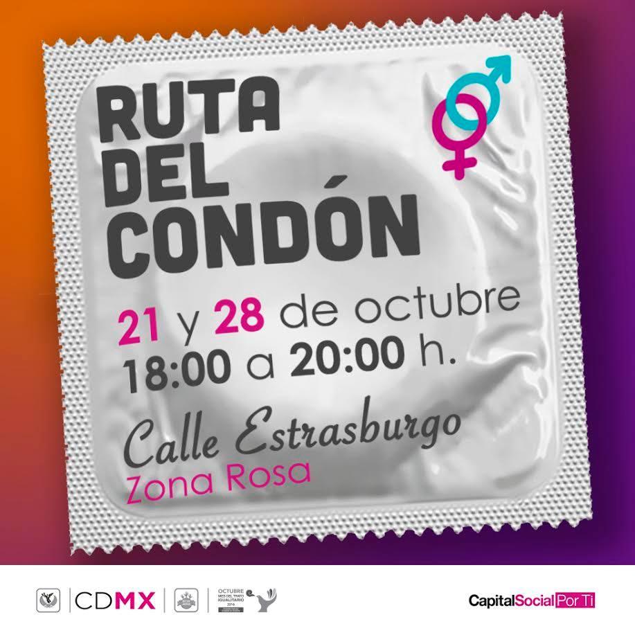 Injuve: Ruta del Condón 21 y 28 de Octubre en la Zona Rosa CDMX