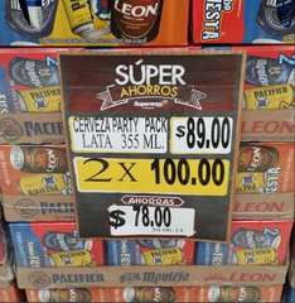 Superama: paquete de cervezas Party Pack 2x$100 (16 cervezas incluyendo Pacífico)
