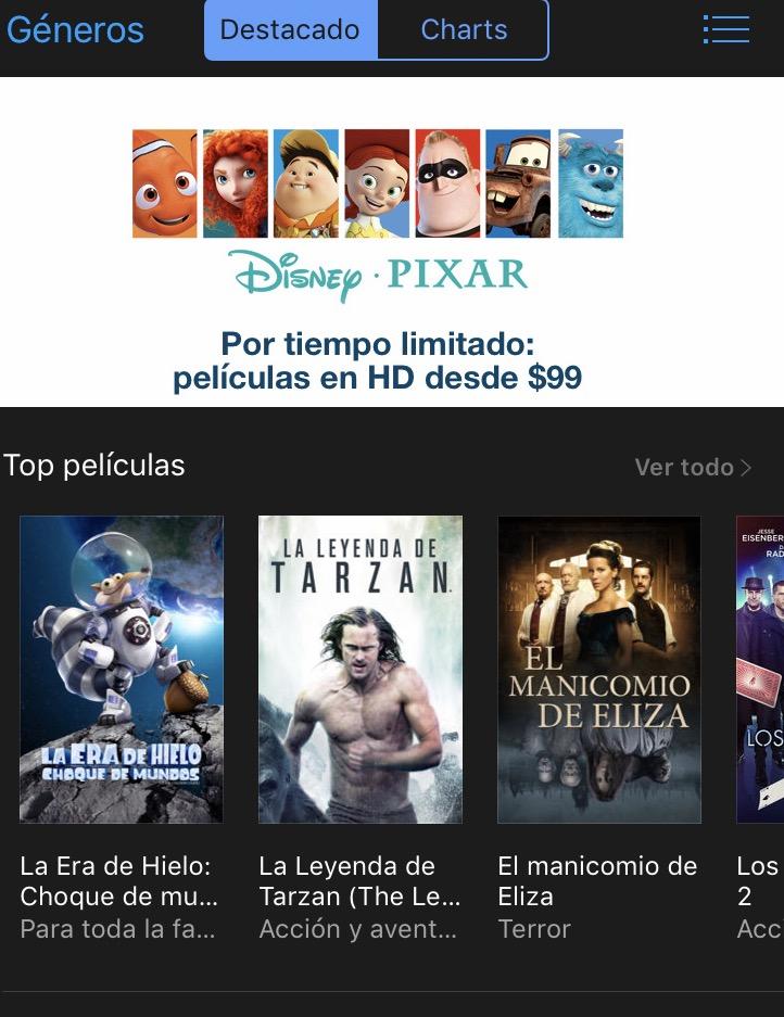 iTunes Store: Películas Disney Pixar HD desde $99