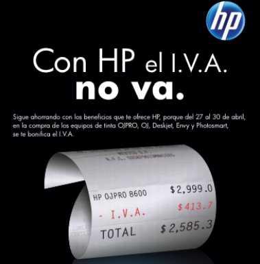 Varias tiendas: bonificación de IVA en impresoras HP.