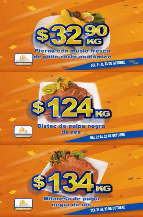 Chedraui: Fin de semana de Carnes: Pierna con muslo de pollo corte americano $32.90 kg; Bistec pulpa negra de res $124 kg; Milanesa pulpa negra de res $134 kg.