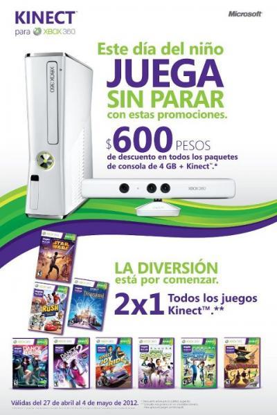 2x1 en juegos de Kinect y $600 de descuento en XBOX 360 con Kinect