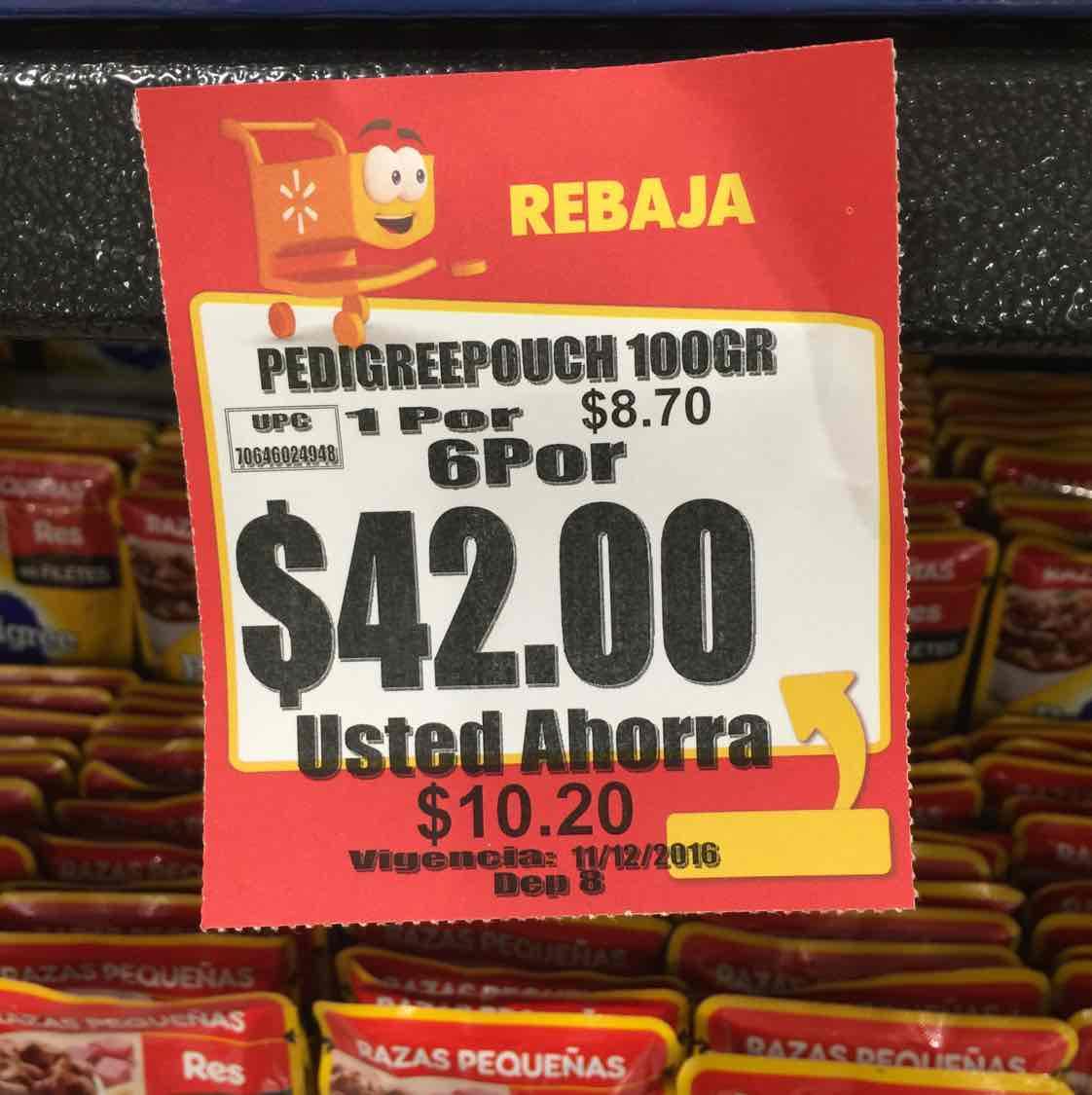 Walmart: sobres Pedigree diferentes para perro 6x$42